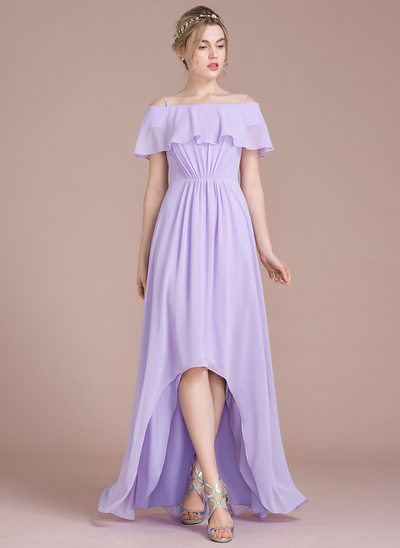A-Line/Princess Off-the-Shoulder Asymmetrical Chiffon Prom Dresses With Cascading Ruffles