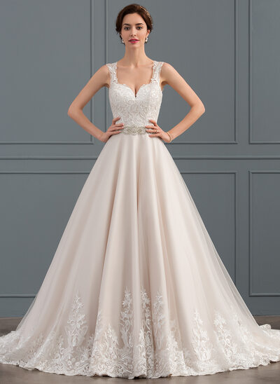 Ball-Gown Sweetheart Court Train Tulle Lace Wedding Dress With Beading