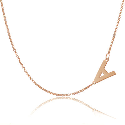 Custom 18k Rose Gold Plated Silver Letter Sideways Initial Necklace - Valentines Gifts