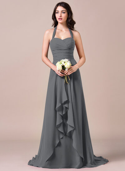 A-Line Halter Sweep Train Chiffon Bridesmaid Dress With Bow(s) Cascading Ruffles