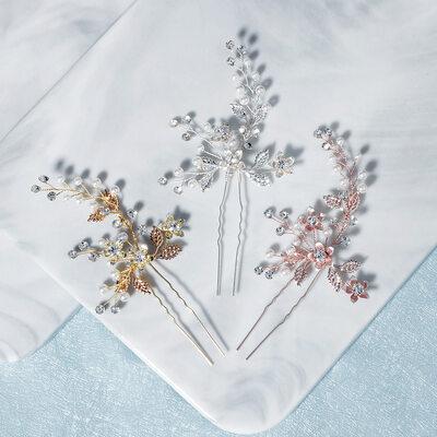 Damen Schöne Strass/Faux-Perlen Kämme und Haarspangen mit Strass/Venezianischen Perle (Set von 2)