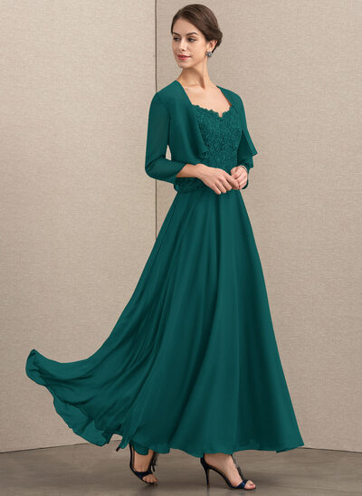 A-Line V-neck Ankle-Length Chiffon Lace Mother of the Bride Dress With Sequins
