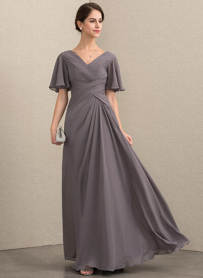 A-Line V-neck Floor-Length Chiffon Mother of the Bride Dress With Ruffle