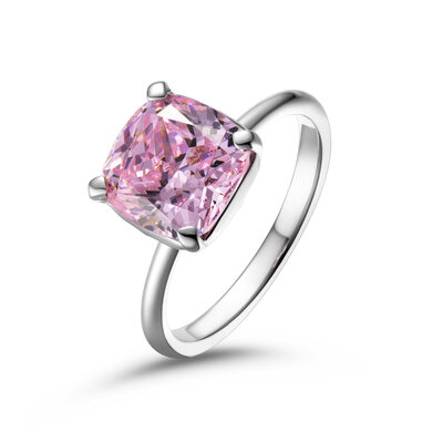 Solitaire Fancy Pink Cushion Cut 925 Silver Promise Rings
