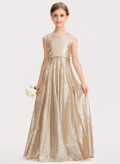 A-Line Floor-length Flower Girl Dress - Sequined Sleeveless Scoop Neck