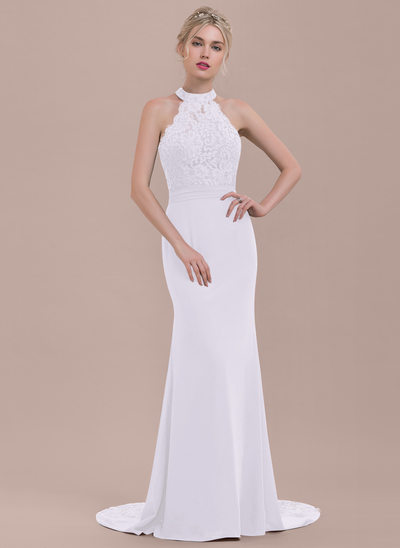 Trumpet/Mermaid High Neck Sweep Train Chiffon Lace Bridesmaid Dress