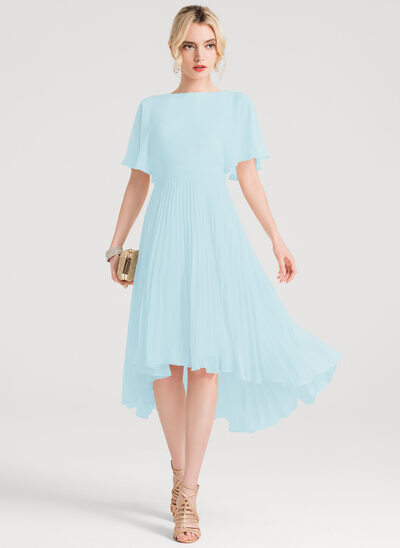 A-Line/Princess Scoop Neck Asymmetrical Chiffon Homecoming Dress With Pleated