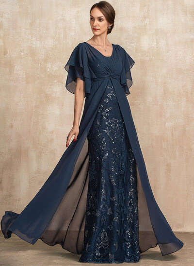 Sheath/Column V-neck Floor-Length Chiffon Lace Mother of the Bride Dress With Ruffle Sequins