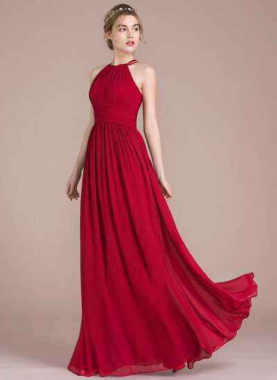7f5c7216b34 A-Line Princess Scoop Neck Floor-Length Chiffon Bridesmaid Dress With Ruffle