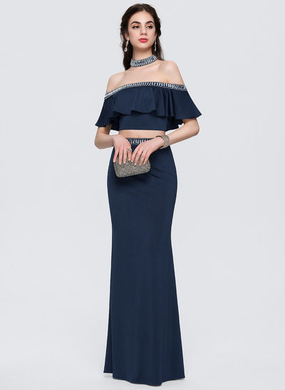 Sheath/Column Off-the-Shoulder Floor-Length Jersey Prom Dresses With Beading Cascading Ruffles