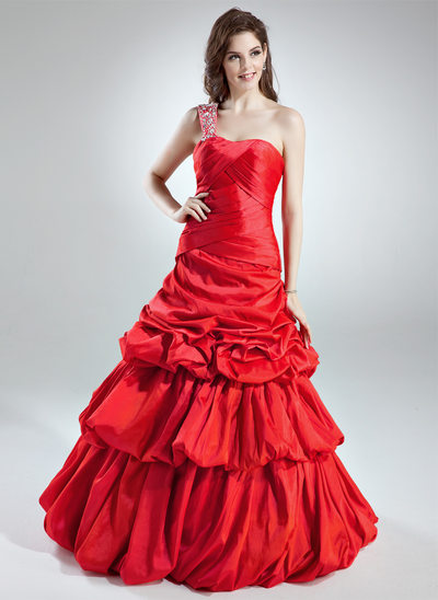 A-Line/Princess One-Shoulder Floor-Length Taffeta Quinceanera Dress With Ruffle Beading
