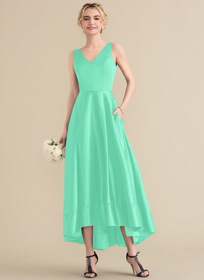 A-Line V-neck Asymmetrical Satin Prom Dresses With Pockets