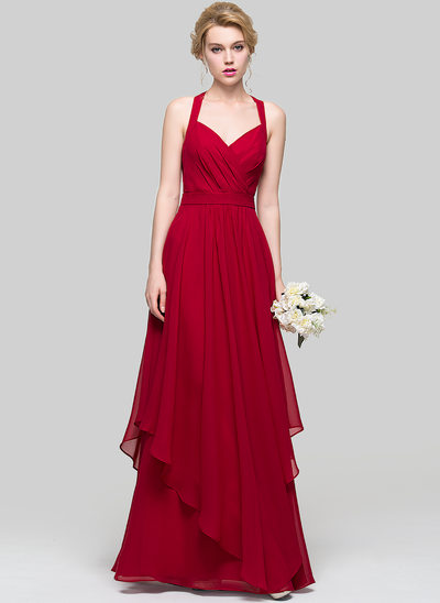 A-Line Sweetheart Floor-Length Chiffon Prom Dresses With Cascading Ruffles