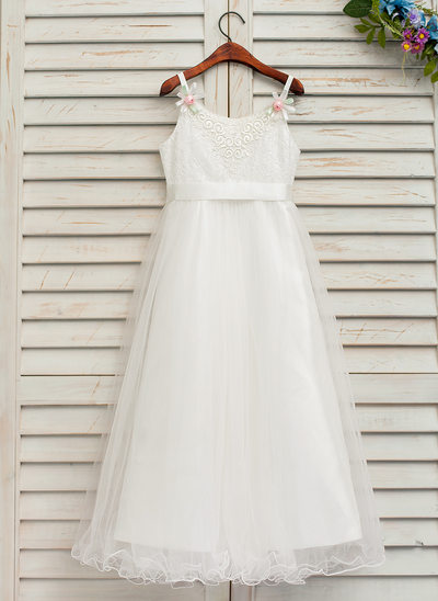 A-Line/Princess Ankle-length Flower Girl Dress - Tulle/Lace Sleeveless Straps With Flower(s) (Detachable sash)