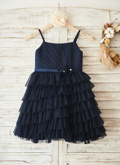 A-Line/Princess Knee-length Flower Girl Dress - Tulle Sleeveless Straps With Flower(s)/Pleated