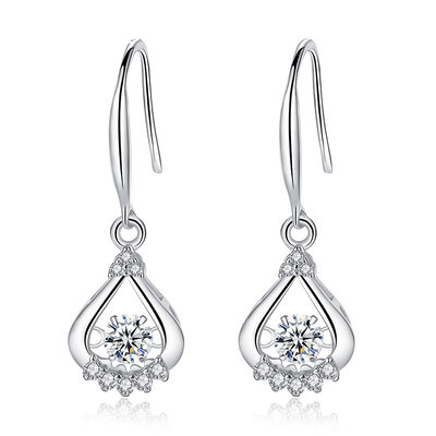 Ladies' Fancy 925 Sterling Silver With Diamond Cubic Zirconia Earrings For Mother/For Friends