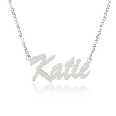 Custom Silver Letter Vintage Name Necklace