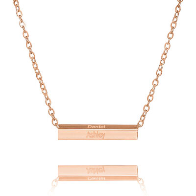 Custom 18k Rose Gold Plated Silver Engraving/Engraved Bar Necklace - Birthday Gifts Mother's Day Gifts