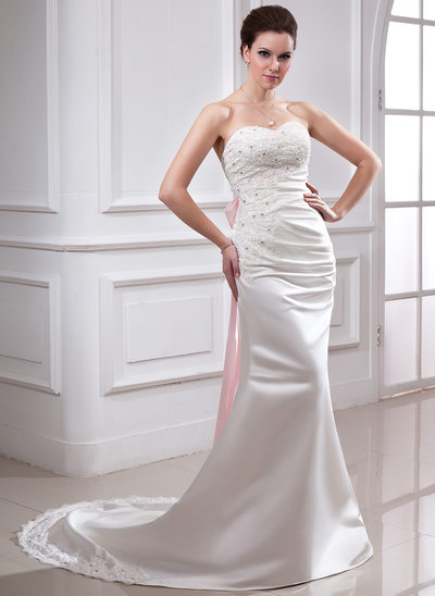 Trumpet/Mermaid Sweetheart Chapel Train Satin Wedding Dress With Ruffle Lace Sash Beading Bow(s)