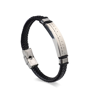 Groom Gifts - Personalized Vintage Morse Code Stainless Steel Leather Bracelet