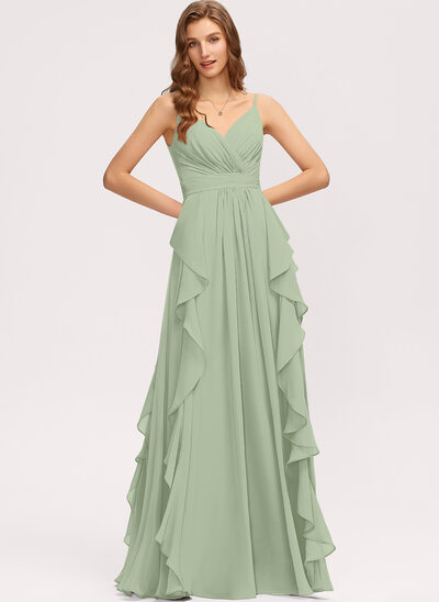 A-Line V-neck Floor-Length Chiffon Bridesmaid Dress With Ruffle Cascading Ruffles