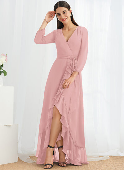 A-Line V-neck Asymmetrical Bridesmaid Dress With Ruffle Split Front