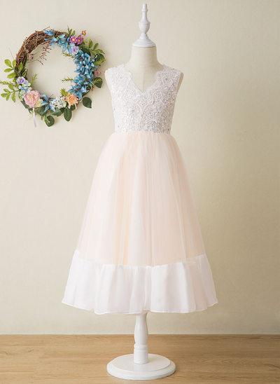 A-Line Tea-length Flower Girl Dress - Tulle/Lace Sleeveless V-neck
