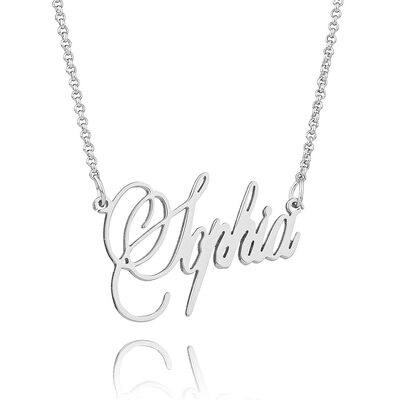 [Free Shipping]Christmas Gifts For Her-Custom Sterling Silver Signature Cursive Name Necklace (288219226)