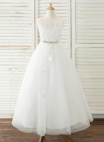 3bfdbe02521 A-Line Floor-length Flower Girl Dress - Tulle Lace Sleeveless Scoop Neck New