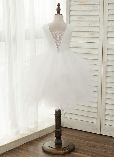 A-Line/Princess Knee-length Flower Girl Dress - Tulle/Lace Sleeveless Strapless With Beading/V Back