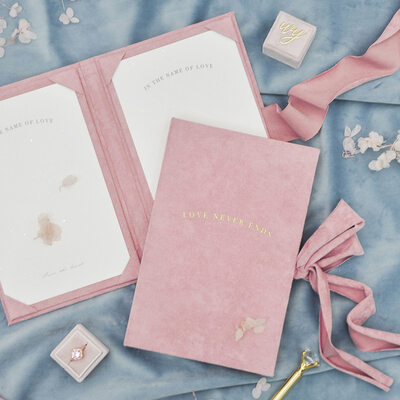 Bride Gifts - Personalized Graceful Cover Stamping Suede Vow Booklet