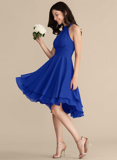 A-Line Scoop Neck Asymmetrical Chiffon Cocktail Dress With Ruffle