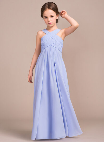 A-Line V-neck Floor-Length Chiffon Junior Bridesmaid Dress With Ruffle