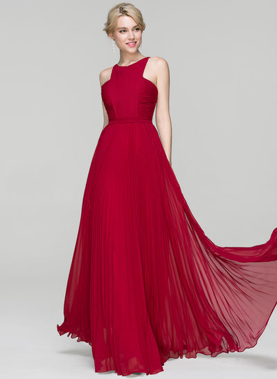A-Line/Princess Scoop Neck Floor-Length Chiffon Prom Dresses With Split Front Pleated
