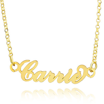 Custom 18k Gold Plated Carrie Nameplate Name Necklace