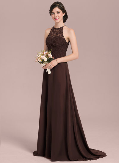 A-Line/Princess Scoop Neck Sweep Train Chiffon Lace Bridesmaid Dress With Ruffle Bow(s)