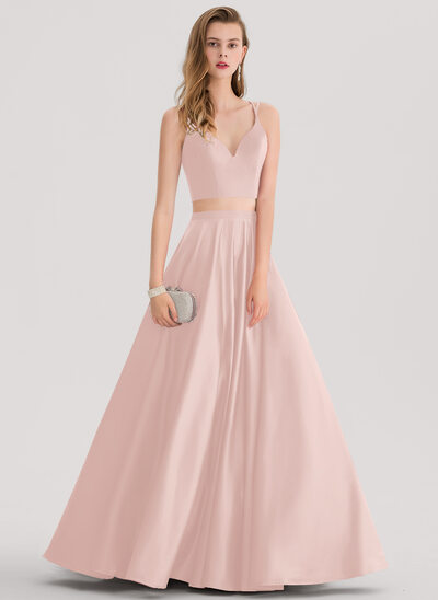 Ball-Gown Sweetheart Floor-Length Satin Prom Dresses