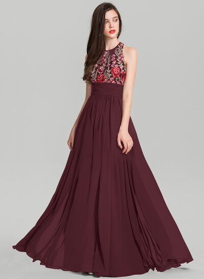 A-Line/Princess Scoop Neck Floor-Length Chiffon Evening Dress With Ruffle Split Front