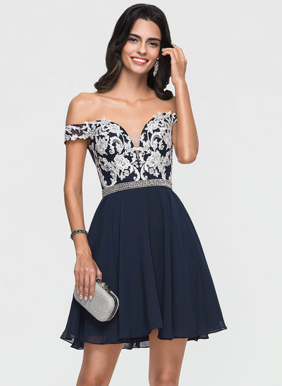 A-Line/Princess Off-the-Shoulder Short/Mini Chiffon Homecoming Dress With Lace Beading