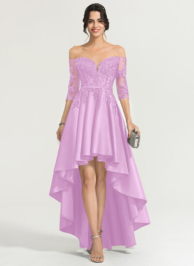 A-Line Off-the-Shoulder Asymmetrical Satin Evening Dress With Sequins