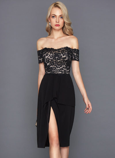 Sheath/Column Off-the-Shoulder Knee-Length Satin Cocktail Dress With Cascading Ruffles