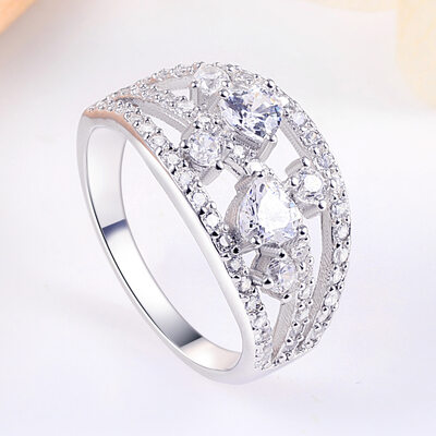 925 Sterling Silver With Round Cubic Zirconia Rings