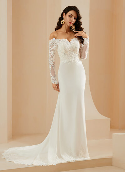 Trumpet/Mermaid Off-the-Shoulder Court Train Wedding Dress With Lace