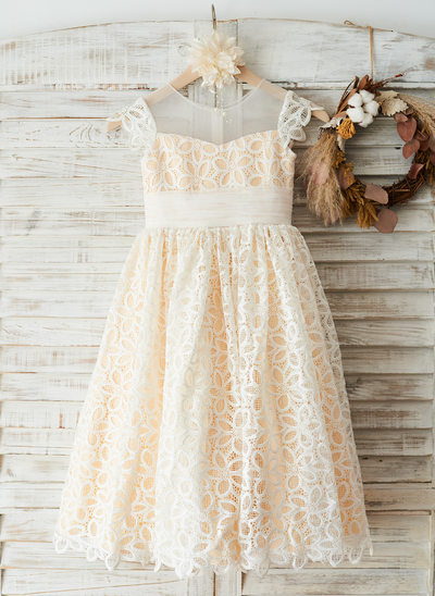A-Line/Princess Tea-length Flower Girl Dress - Tulle/Lace Short Sleeves Scoop Neck