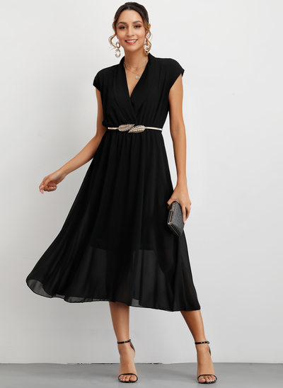 A-Line V-neck Tea-Length Cocktail Dress