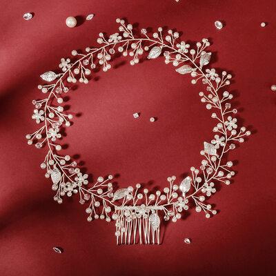Damen Schöne Kristall/Strass/Faux-Perlen Kämme und Haarspangen/Stirnbänder mit Venezianischen Perle/Kristall (In Einem Stück Verkauft)