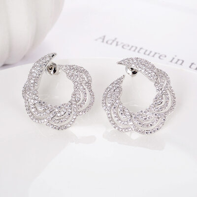 Ladies' Unique Copper/Platinum Plated Cubic Zirconia Earrings For Bridesmaid/For Mother