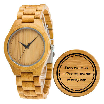 Groomsmen Gifts - Personalized Mens Custom Engraved Bamboo Watches