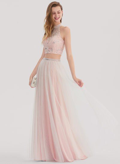 A-Line/Princess Scoop Neck Floor-Length Tulle Prom Dress With Beading