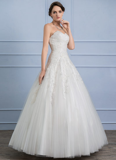 Ball-Gown Sweetheart Floor-Length Tulle Lace Wedding Dress With Ruffle Beading Sequins